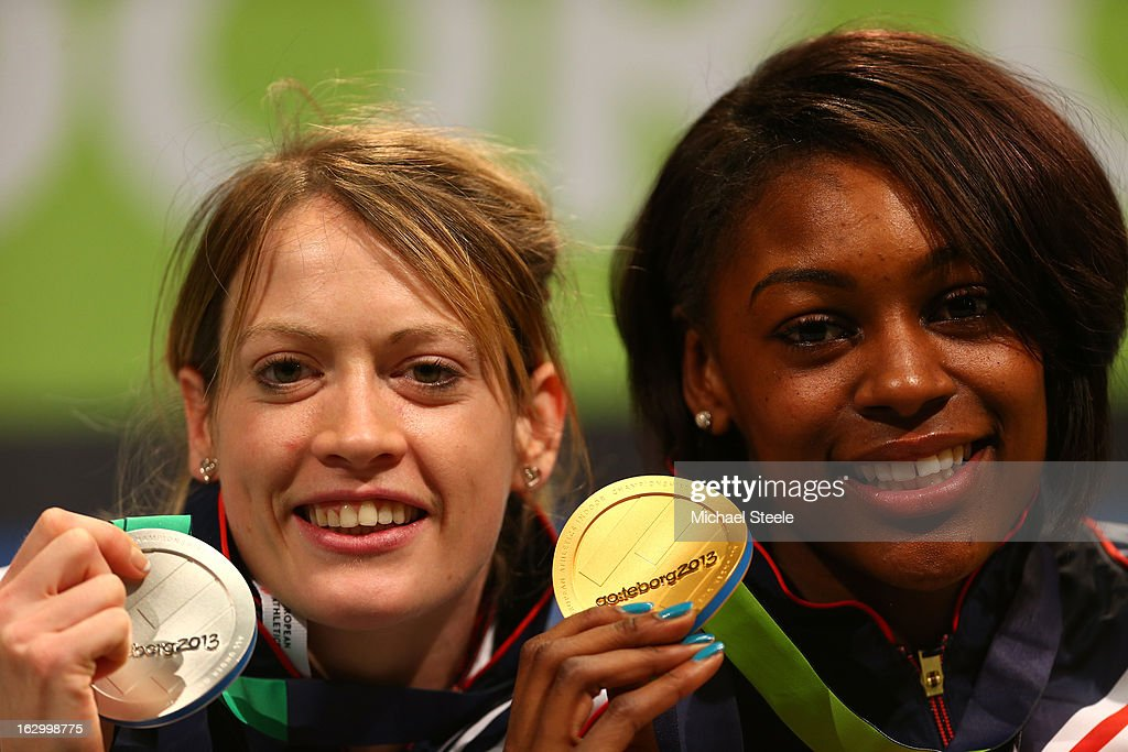 Silver medalist Eilidh Child of Great Britain and Northern Ireland and Gold medalist Perri Shakes-Drayton of Great Britain and Northern Ireland pose during the victory ceremony for the Women's 400m during day three of European Indoor Athletics at Scandinavium on March 3, 2013 in Gothenburg, Sweden.