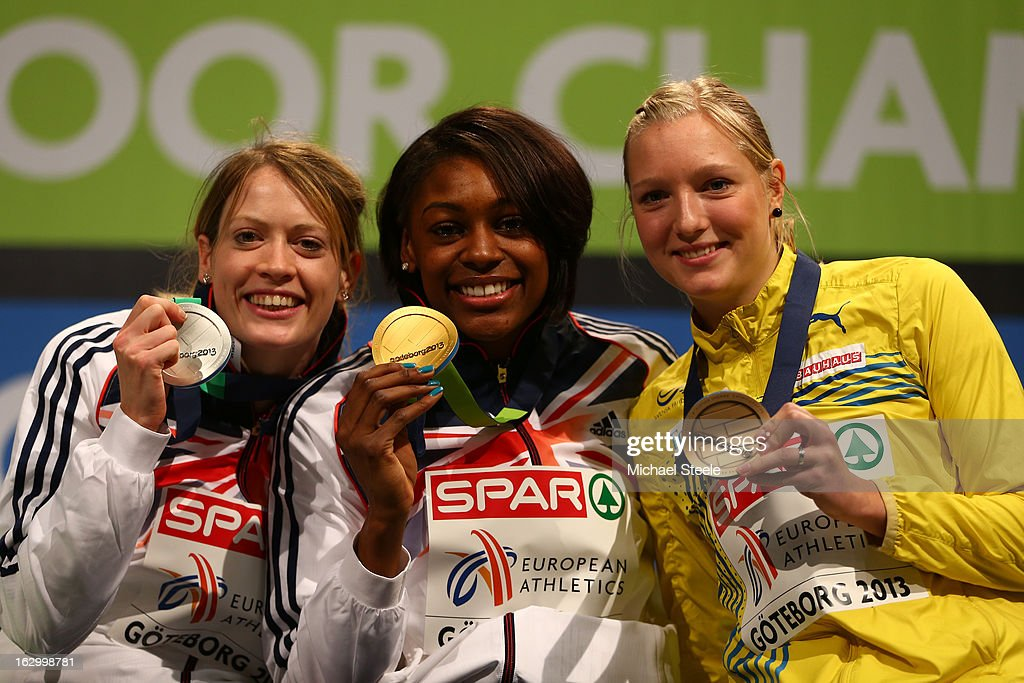 Silver medalist Eilidh Child of Great Britain and Northern Ireland, Gold medalist Perri Shakes-Drayton of Great Britain and Northern Ireland and bronze medalist Moa Hjelmer of Sweden pose during the victory ceremony for the Women's 400m during day three of European Indoor Athletics at Scandinavium on March 3, 2013 in Gothenburg, Sweden.