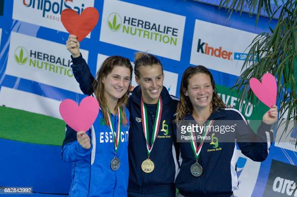 Silver medalist Elena Bertocchi Gold medalist Tania Cagnotto and Bronze medalist Maria Marconi during Italian Diving Championships at Piscina...