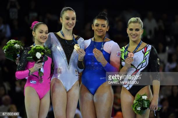 Silver medalist Elena Eremina of Russia gold medalist Nina Derwael of Belgium bronze joint medalists Elissa Downie of Great Britain and Elisabeth...