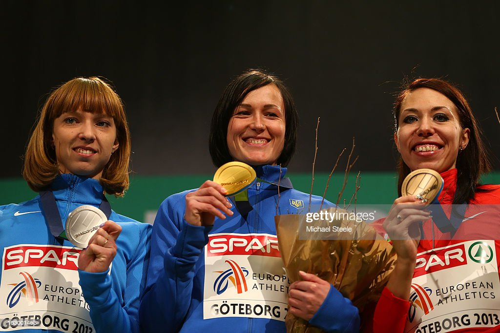 Silver medalist Elena Kotulskaia of Russia, Gold medalist Nataliya Lupu of Ukraine and Bronze medalist Marina Arzamasova of Belarus pose during the victory ceremony for the Women's 800m during day three of European Indoor Athletics at Scandinavium on March 3, 2013 in Gothenburg, Sweden.