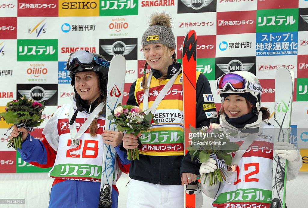 Silver medalist Elena Muratova of Russia gold medalist Hannah Kearney of USA and bronze medalist Junko Hoshino of Japan pose on the podium in the...