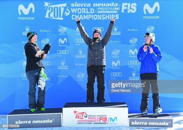 Silver medalist Emma Dahlstrom of Sweden gold medalist Tess Ledeux of France and bronze medalist Isabel Atkin of Great Britain pose during the medal...