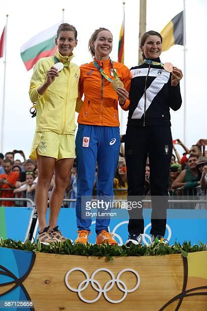 Silver medalist Emma Johansson of Sweden gold medalist Anna van der Breggen of the Netherlands and bronze medalist Elisa Longo Borghini of Italy pose...