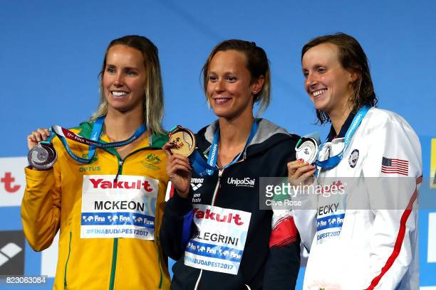 Silver medalist Emma Mckeon of Australia gold medalist Federica Pellegrini of Italy and silver medalist Katie Ledecky of the United States pose with...