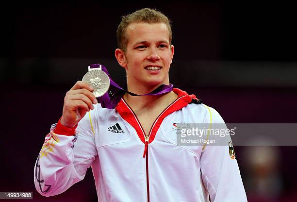 Silver medalist Fabian Hambuchen of Germany poses on the podium after the Artistic Gymnastics Men's Horizontal Bar final on Day 11 of the London 2012...
