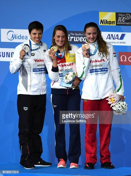 Silver medalist Franziska Hentke of Germany and gold medalist Mireia Belmonte of Spain and bronze medalist Katinka Hosszu of Hungary pose with the...
