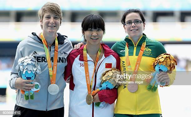 Silver medalist Franziska Liebhardt of Germany Gold medalist Wen Xiaoyan of China and Bronze medalist Jodi ElkingtonJones of Australia pose for...