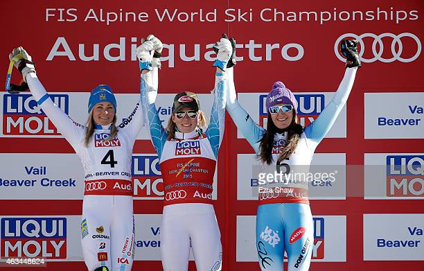 Silver medalist Frida Hansdotter of Sweden gold medalist Mikaela Shiffrin of the United States and bronze medalist Sarka Strachova of the Czech...