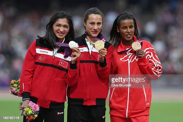 Silver medalist Gamze Bulut of Turkey gold medalist Asli Cakir Alptekin of Turkey and bronze medalist Maryam Yusuf Jamal of Bahrain pose on the...