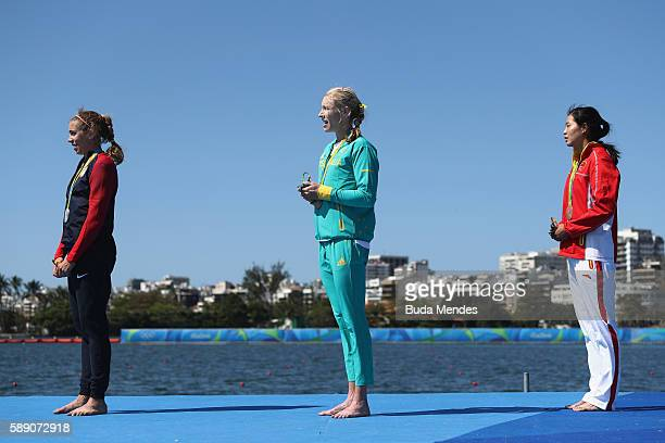 Silver medalist Genevra Stone of the United States gold medalist Kimberley Brennan of Australia and bronze medalist Jingli Duan of China stand on the...