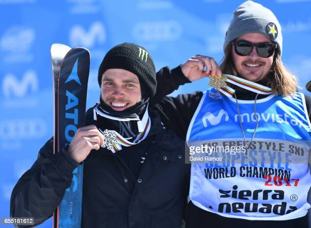 Silver medalist Gus Kenworthy of the United States and gold medalist Mcrae Williams of the United States pose during the medal cermony for the Men's...