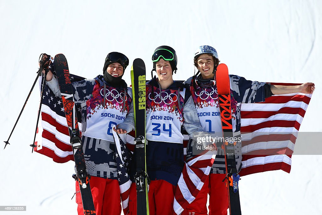 Silver medalist <a gi-track='captionPersonalityLinkClicked' href=/galleries/search?phrase=Gus+Kenworthy&family=editorial&specificpeople=6164869 ng-click='$event.stopPropagation()'>Gus Kenworthy</a> of the United States, gold medalist <a gi-track='captionPersonalityLinkClicked' href=/galleries/search?phrase=Joss+Christensen&family=editorial&specificpeople=7454278 ng-click='$event.stopPropagation()'>Joss Christensen</a> of the United States and bronze medalist Nicholas Goepper of the United States pose after the Freestyle Skiing Men's Ski Slopestyle Finals during day six of the Sochi 2014 Winter Olympics at Rosa Khutor Extreme Park on February 13, 2014 in Sochi, Russia.