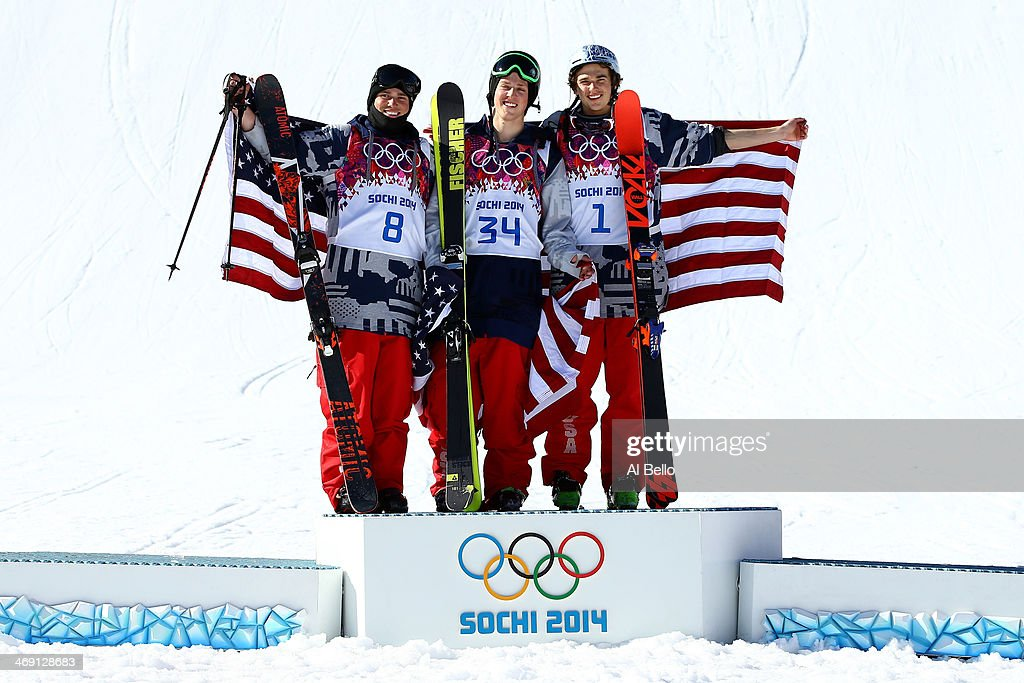 Silver medalist Gus Kenworthy of the United States gold medalist Joss Christensen of the United States and bronze medalist Nicholas Goepper of the...