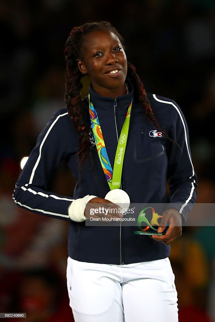 Silver medalist Haby Niare of France poses on the podium during the medal ceremony for the Women's Taekwondo 67kg Contest on Day 14 of the Rio 2016...