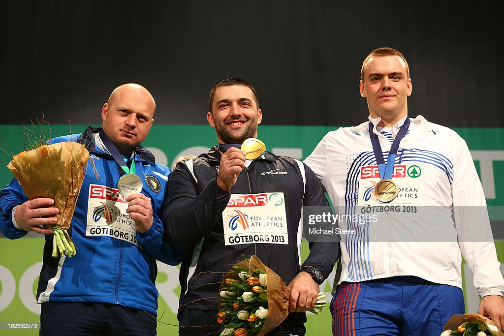 Silver medalist Hamza Alic of Bosnia and Herzegovina, Gold medalist <a gi-track='captionPersonalityLinkClicked' href=/galleries/search?phrase=Asmir+Kolasinac&family=editorial&specificpeople=6836640 ng-click='$event.stopPropagation()'>Asmir Kolasinac</a> of Serbia and bronze medailist Ladislav Prasil of Czech Republic pose during the victory ceremony for the Men's Shot Put during day one of the European Athletics Indoor Championships at Scandinavium on March 1, 2013 in Gothenburg, Sweden.