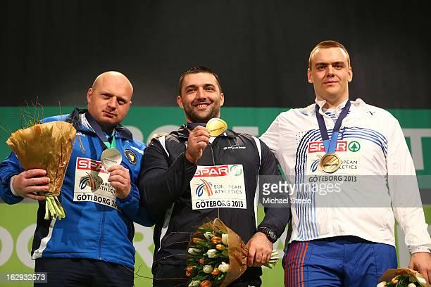 Silver medalist Hamza Alic of Bosnia and Herzegovina Gold medalist Asmir Kolasinac of Serbia and bronze medailist Ladislav Prasil of Czech Republic...