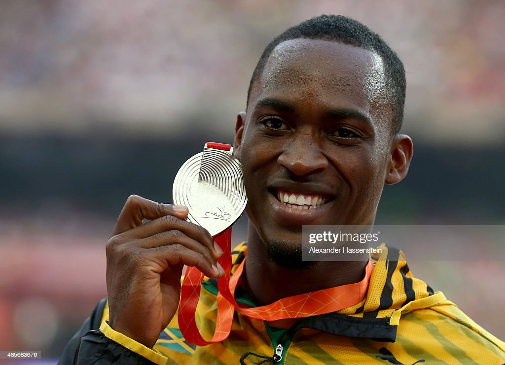 Silver medalist <a gi-track='captionPersonalityLinkClicked' href=/galleries/search?phrase=Hansle+Parchment&family=editorial&specificpeople=7242209 ng-click='$event.stopPropagation()'>Hansle Parchment</a> of Jamaica poses on the podium during the medal ceremony for the Men's 110 metres hurdles final during day eight of the 15th IAAF World Athletics Championships Beijing 2015 at Beijing National Stadium on August 29, 2015 in Beijing, China.