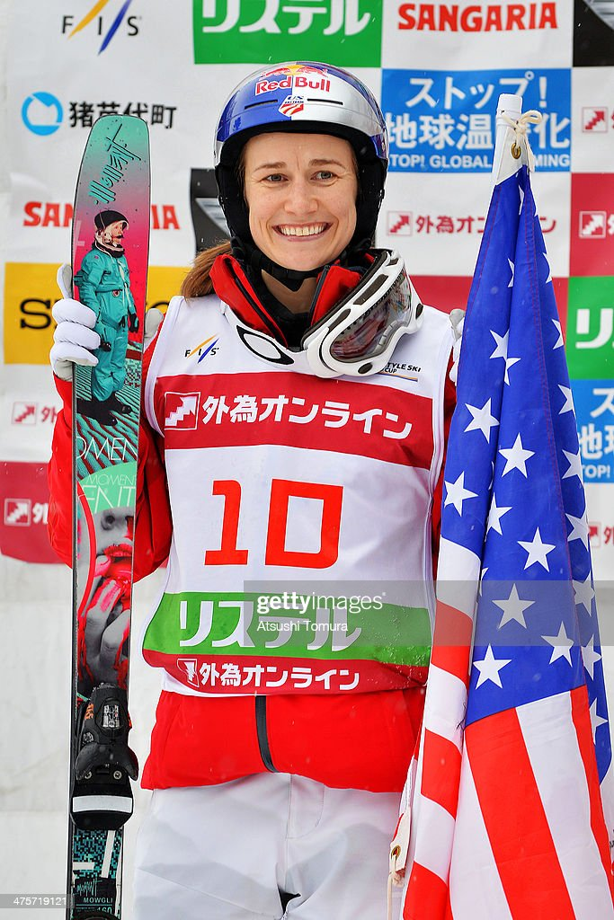 Silver medalist Heather Mcphie of USA smiles on the podium in the medal ceremony during the 2014 FIS Free Style Ski World Cup Inawashiro at Listel Inawashiro on March 1, 2014 in Inawashiro, Japan.