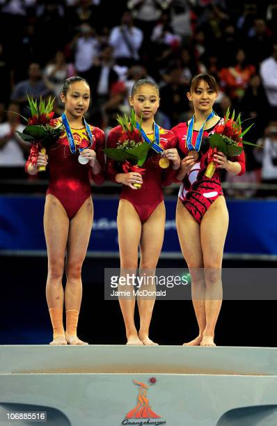 Silver medalist Huang Oiushuang of China Gold medalist Lu Sui of China and Bronze medalist Rie Tanaka of Japan pose on the podum for the Women's All...
