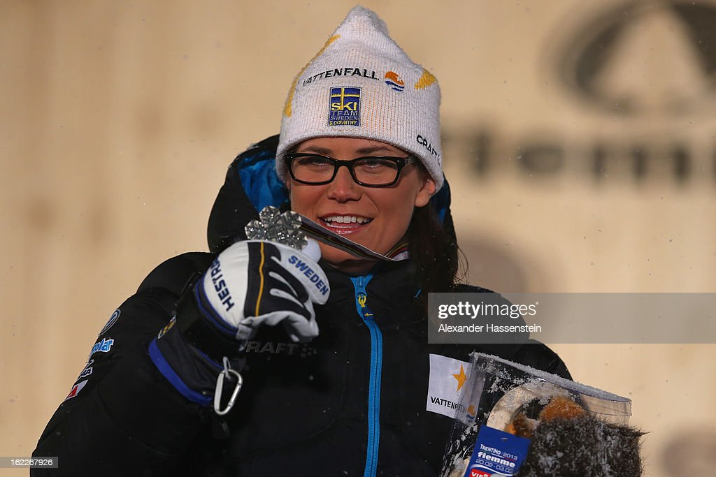 Silver medalist Ida Ingemarsdotter of Sweden poses at the medal ceremony for the Women's Cross Country 1.2km Classic Sprint Final at the FIS Nordic World Ski Championships on February 21, 2013 in Val di Fiemme, Italy.