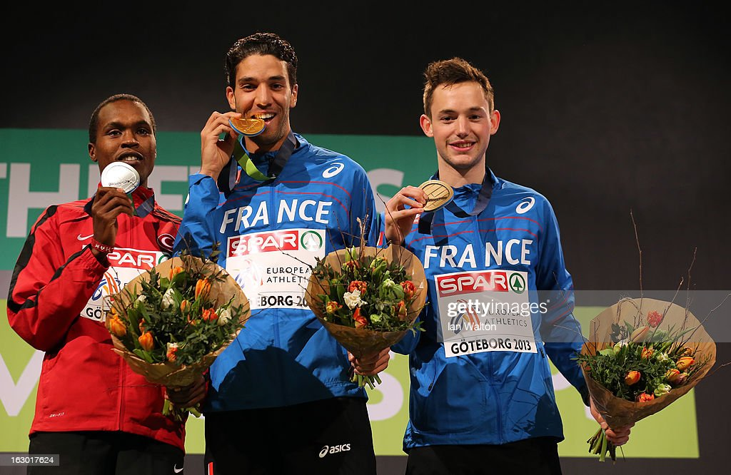 Silver medalist Ilham Tanui Ozbilen of Turkey, Gold medalist Mahiedine Mekhissi-Benabbad of France and Bronze medalist Simon Denissel of France pose during the victory ceremony for the Men's 1500m during day three of European Indoor Athletics at Scandinavium on March 3, 2013 in Gothenburg, Sweden.