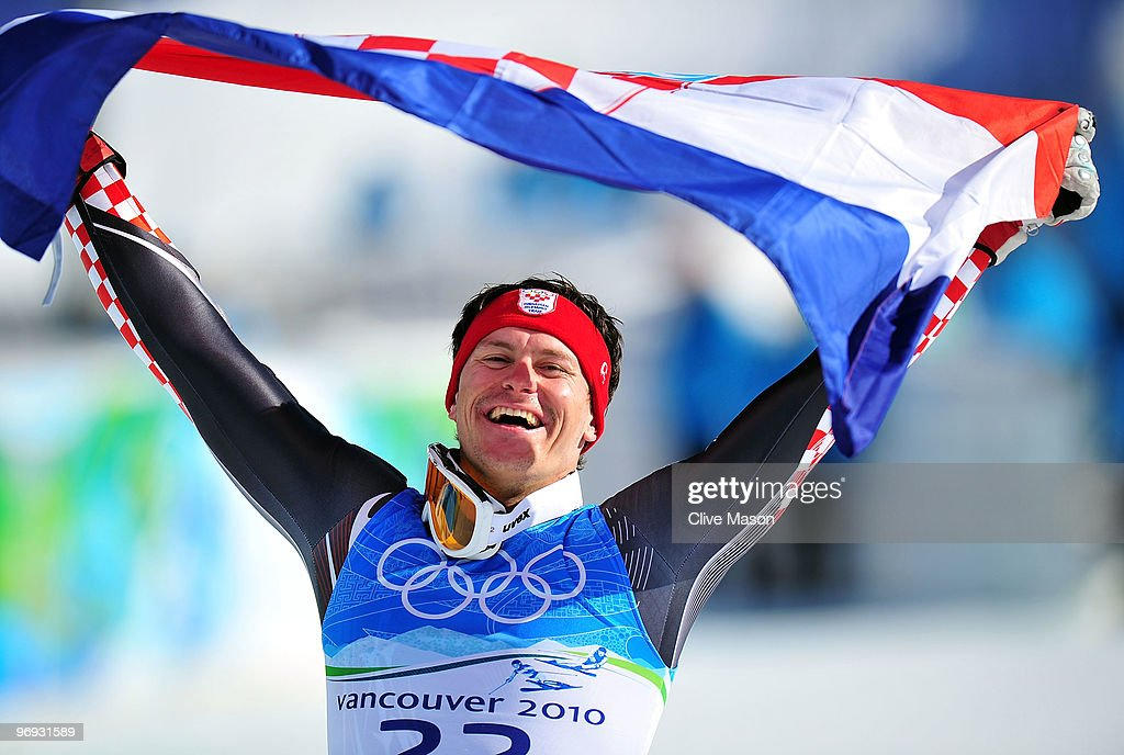 Silver medalist Ivica Kostelic of Croatia celebrates after the Alpine Skiing Men's Super Combined Slalom on day 10 of the Vancouver 2010 Winter...