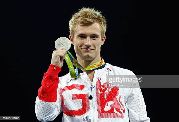 Silver medalist Jack Laugher of Great Britain poses during the medal ceremony for the Men's Diving 3m Springboard final at the Maria Lenk Aquatics...