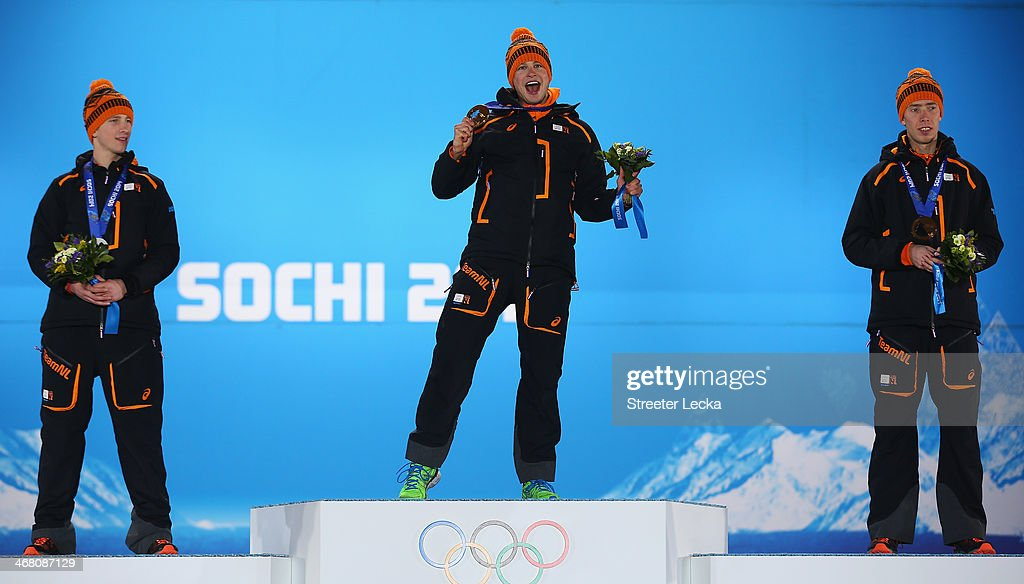 Silver medalist <a gi-track='captionPersonalityLinkClicked' href=/galleries/search?phrase=Jan+Blokhuijsen&family=editorial&specificpeople=4900694 ng-click='$event.stopPropagation()'>Jan Blokhuijsen</a> of the Netherlands, gold medalist <a gi-track='captionPersonalityLinkClicked' href=/galleries/search?phrase=Sven+Kramer&family=editorial&specificpeople=769363 ng-click='$event.stopPropagation()'>Sven Kramer</a> of the Netherlands and bronze medalist <a gi-track='captionPersonalityLinkClicked' href=/galleries/search?phrase=Jorrit+Bergsma&family=editorial&specificpeople=7364017 ng-click='$event.stopPropagation()'>Jorrit Bergsma</a> of the Netherlands celebrate during the medal ceremony for the Men's 5000m Speed Skating on day 2 of the Sochi 2014 Winter Olympics at Medals Plaza on February 9, 2014 in Sochi, .
