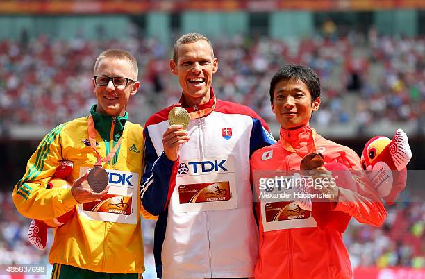 Silver medalist Jared Tallent of Australia gold medalist Matej Toth of Slovakia and bronze medalist Takayuki Tanii of Japan pose on the podium during...