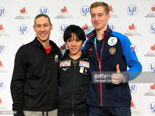 Silver medalist Jason Brown of the United Sstates gold medalist Shoma Uno of Japan and bronze medalist Alexander Samarin of Russia pose for...