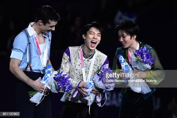 Silver medalist Javier Fernandez of Spain Gold medalist Yuzuru Hanyu of Japan and Bronze medalist Shoma Uno of Japan pose during the Men final medals...