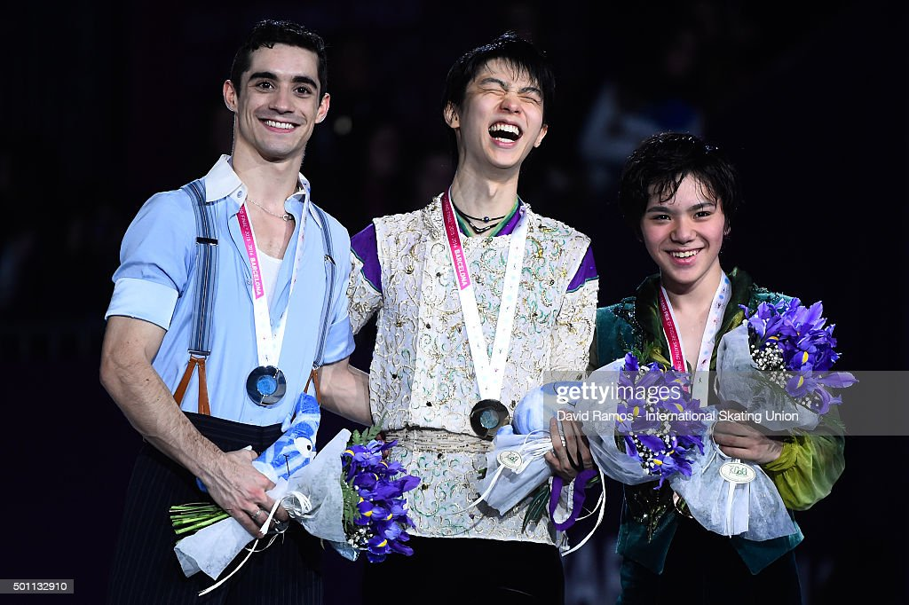 Silver medalist Javier Fernandez of Spain, Gold medalist <a gi-track='captionPersonalityLinkClicked' href=/galleries/search?phrase=Yuzuru+Hanyu&family=editorial&specificpeople=6666965 ng-click='$event.stopPropagation()'>Yuzuru Hanyu</a> of Japan and Bronze medalist <a gi-track='captionPersonalityLinkClicked' href=/galleries/search?phrase=Shoma+Uno&family=editorial&specificpeople=8799118 ng-click='$event.stopPropagation()'>Shoma Uno</a> of Japan pose during the Men final medals ceremony during day three of the ISU Grand Prix of Figure Skating Final 2015/2016 at the Barcelona International Convention Centre on December 12, 2015 in Barcelona, Spain.