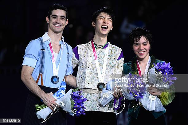 Silver medalist Javier Fernandez of Spain Gold medalist Yuzuru Hanyu of Japan and Bronze medalist Shoma Uno of Japan pose during the Men final medals...