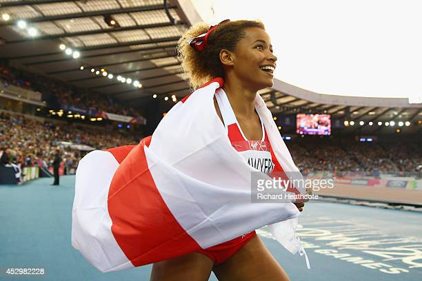 Silver medalist Jazmin Sawyers of England celebrates after the Women's Long Jump final at Hampden Park during day eight of the Glasgow 2014...