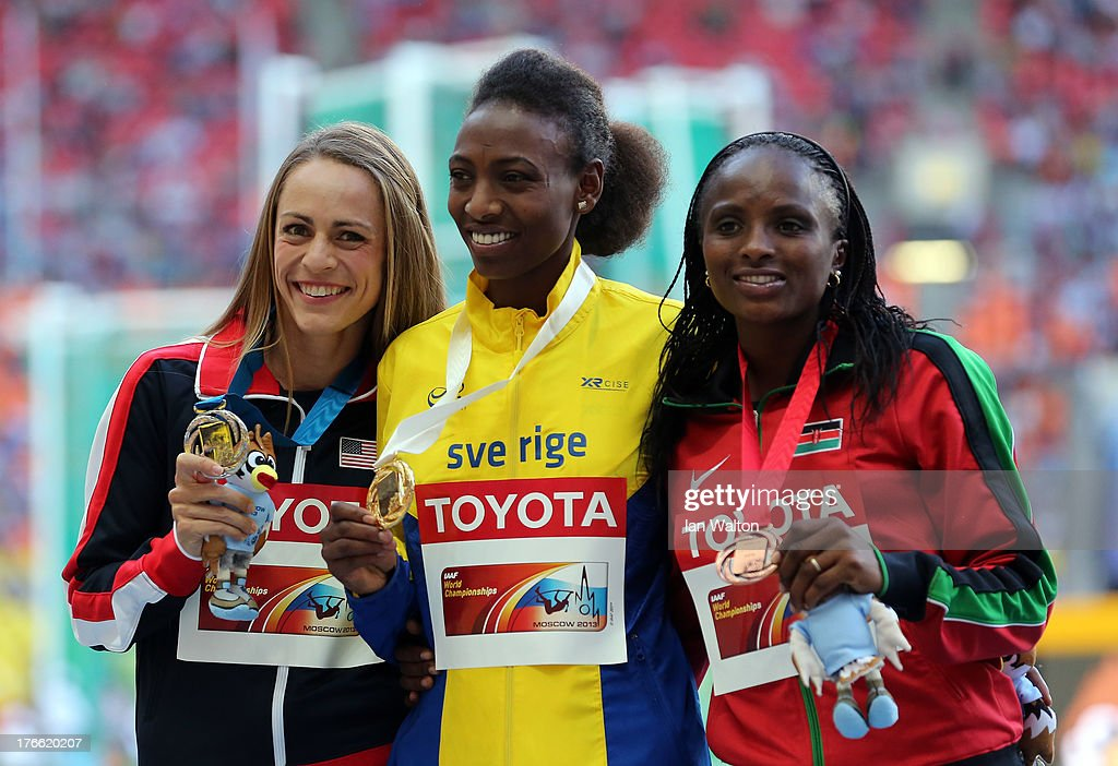 silver medalist Jennifer Simpson of the United States, gold medalist <a gi-track='captionPersonalityLinkClicked' href=/galleries/search?phrase=Abeba+Aregawi&family=editorial&specificpeople=7507662 ng-click='$event.stopPropagation()'>Abeba Aregawi</a> of Sweden and bronze medalist Hellen Onsando Obiri of Kenya pose on the podium during the medal ceremony for the Women's 1500 metres during Day Seven of the 14th IAAF World Athletics Championships Moscow 2013 at Luzhniki Stadium at Luzhniki Stadium on August 16, 2013 in Moscow, Russia.