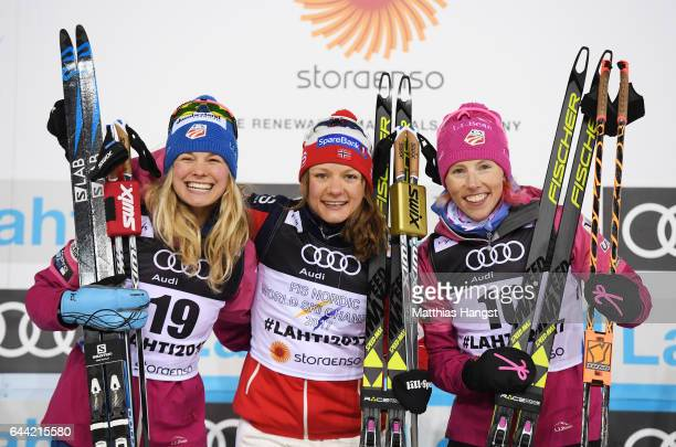 Silver medalist Jessica Diggins of the United States gold medalist Maiken Caspersen Falla of Norway and bronze medalist Kikkan Randall of the United...
