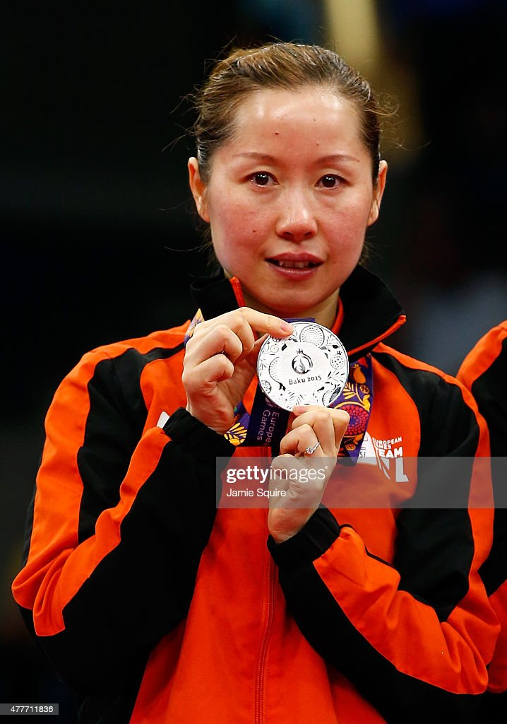Silver medalist Jie Li ot the Netherlands stands on the podium after the Women's Table Tennis Finals during day seven of the Baku 2015 European Games at the Baku Sports Hall on June 19, 2015 in Baku, Azerbaijan.