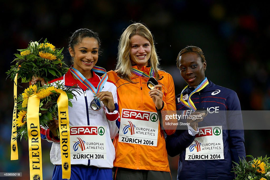 Silver medalist <a gi-track='captionPersonalityLinkClicked' href=/galleries/search?phrase=Jodie+Williams+-+Sprinter&family=editorial&specificpeople=5964402 ng-click='$event.stopPropagation()'>Jodie Williams</a> of Great Britain and Northern Ireland, gold medalist <a gi-track='captionPersonalityLinkClicked' href=/galleries/search?phrase=Dafne+Schippers&family=editorial&specificpeople=7115446 ng-click='$event.stopPropagation()'>Dafne Schippers</a> of the Netherlands and bronze medalist <a gi-track='captionPersonalityLinkClicked' href=/galleries/search?phrase=Myriam+Soumare&family=editorial&specificpeople=5499796 ng-click='$event.stopPropagation()'>Myriam Soumare</a> of France pose with their medals on the podium during the medal ceremony for the Women's 200 metres final during day four of the 22nd European Athletics Championships at Stadium Letzigrund on August 15, 2014 in Zurich, Switzerland.