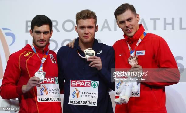 Silver medalist Jorge Urena of Spain gold medalist Kevin Mayer of France and bronze medalist Adam Sebastian Hecelet of Poland pose during the medal...