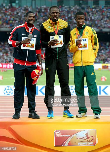 Silver medalist Justin Gatlin of the United States gold medalist Usain Bolt of Jamaica and bronze medalist Anaso Jobodwana of South Africa pose on...