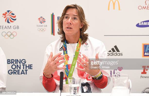 Silver medalist Katherine Grainger speaks to journalists during the Team GB press conference at the Sofitel Heathrow Airport on August 23 2016 in...