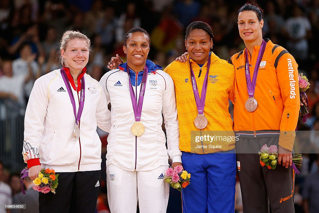 Silver medalist Kerstin Thiele of Germany, Gold medalist Lucie Decosse of France, Bronze medalist A <a gi-track='captionPersonalityLinkClicked' href=/galleries/search?phrase=Yuri+Alvear&family=editorial&specificpeople=4421236 ng-click='$event.stopPropagation()'>Yuri Alvear</a> of Colombia, and Bronze medalist B <a gi-track='captionPersonalityLinkClicked' href=/galleries/search?phrase=Edith+Bosch&family=editorial&specificpeople=2258294 ng-click='$event.stopPropagation()'>Edith Bosch</a> of Netherlands in the Women's -70 kg Judo on Day 5 of the London 2012 Olympic Games at ExCeL on August 1, 2012 in London, England.
