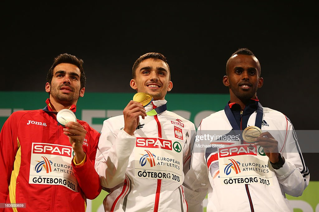 Silver medalist Kevin Lopez of Spain, Gold medalist Adam Kszczot of Poland and Bronze medalist Mukhtar Mohammed of Great Britain and Northern Ireland pose during the victory ceremony for the Men's 800m during day three of European Indoor Athletics at Scandinavium on March 3, 2013 in Gothenburg, Sweden.