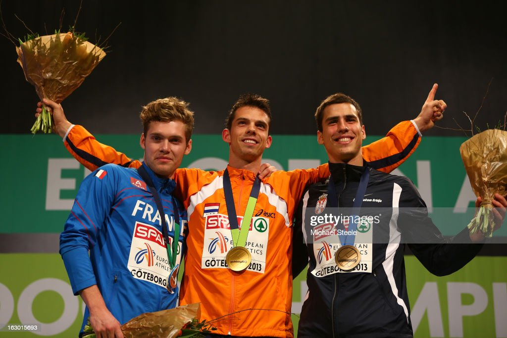 Silver medalist Kevin Mayer of France, Gold medalist <a gi-track='captionPersonalityLinkClicked' href=/galleries/search?phrase=Eelco+Sintnicolaas&family=editorial&specificpeople=5747041 ng-click='$event.stopPropagation()'>Eelco Sintnicolaas</a> of Netherlands and bronze medalist <a gi-track='captionPersonalityLinkClicked' href=/galleries/search?phrase=Mihail+Dudas&family=editorial&specificpeople=7025216 ng-click='$event.stopPropagation()'>Mihail Dudas</a> of Serbia pose during the victory ceremony for the Men's Hepathlon during day three of European Indoor Athletics at Scandinavium on March 3, 2013 in Gothenburg, Sweden.