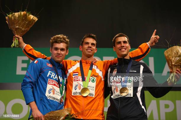 Silver medalist Kevin Mayer of France Gold medalist Eelco Sintnicolaas of Netherlands and bronze medalist Mihail Dudas of Serbia pose during the...