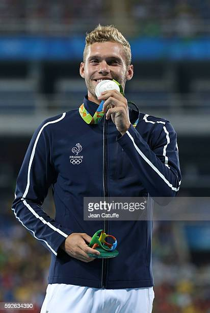 Silver medalist Kevin Mayer of France poses during the medal ceremony for the Men's Decathlon on day 14 of the Rio 2016 Olympic Games at Olympic...
