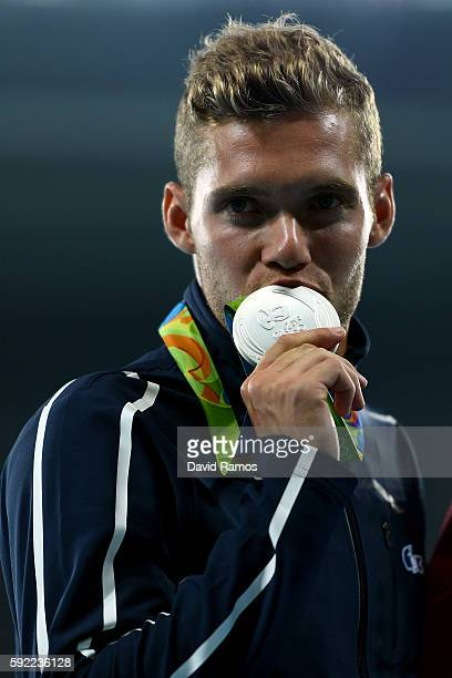 Silver medalist Kevin Mayer of France poses on the podium during the medal ceremony for the Men's Decathlon on Day 14 of the Rio 2016 Olympic Games...