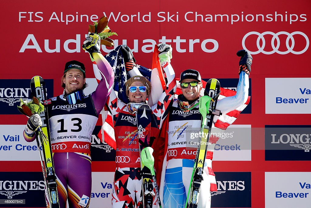Silver medalist Kjetil Jansrud of Norway gold medalist Marcel Hirscher of Austria and bronze medalist Ted Ligety of the United States stand on the...