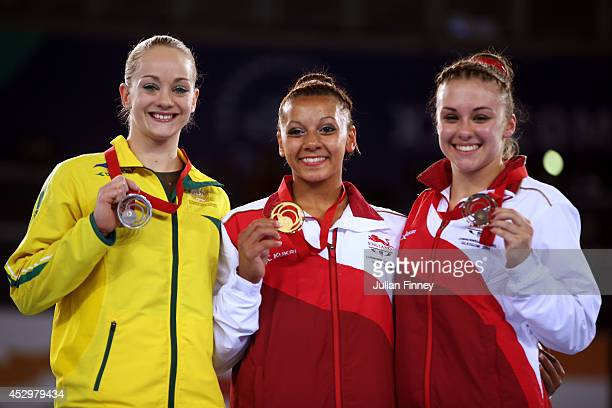 Silver medalist Larrissa Miller of Australia gold medalist Rebecca Downie and Bronze medalist Ruby Harrold of England pose during the medal ceremony...